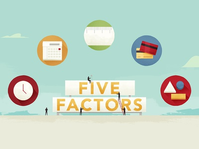 Five Factors billboard illustration sky icons sign styleframe