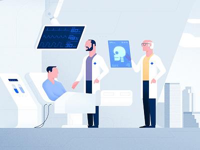 ProcuredHealth hospital health texture skull patient medicine doctor illustration styleframe