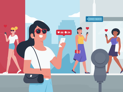 Influencer share like woman street instagram influencer styleframe character illustration
