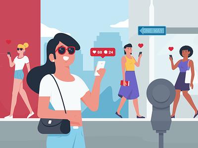 Influencer share like woman street instagram influencer styleframe character illustration