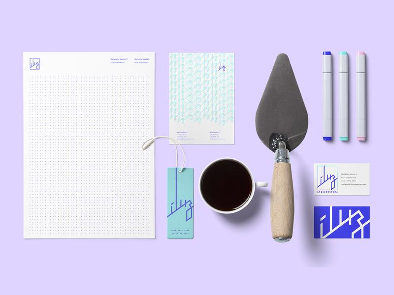 íluz – naming and branding design concept naming logo brand design light mockup branding architecure íluz