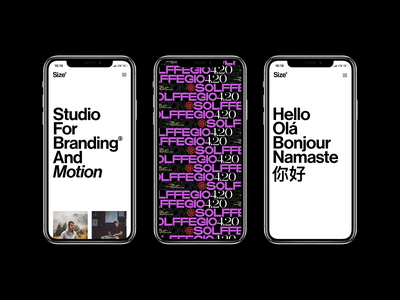 Studio Size — Mobile&Motion grid layout size neue haas grotesk motion mobile ui mobile ui animated art direction branding typography simple clean