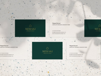 Meraki Jewellery Design Business Cards stationery mockup stationery design stationery business cards stationery business cards rebrand brand identity jewellery branding jewellery brand brand development vector logo design typography graphic design design type logo branding