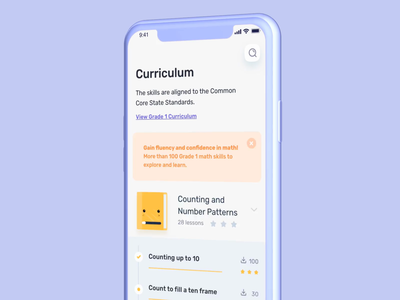Gamified Math-learning app animation design app kids child game design ux ْui app students study curriculum training learning games courses children teach monster math