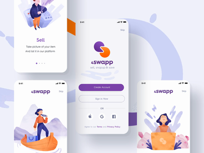 Swapping Products IOS App illustration ecommerce design app animation ux ui
