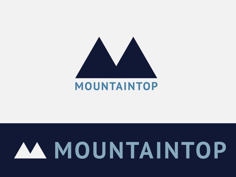 Mountaintop Logo triangle design blue mountain branding illustration logo