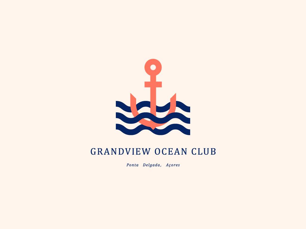 Grandview Ocean Club v2 ocean anchor typography branding logo concept vector minimal illustrator illustration geometic flat design