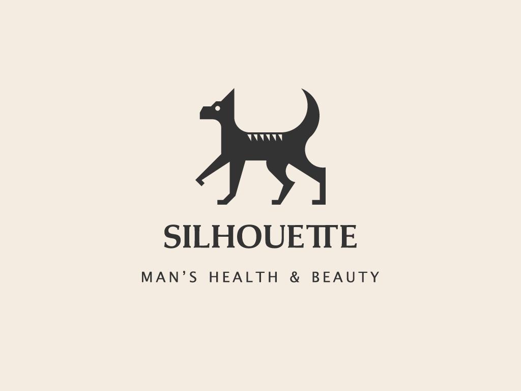 Silhuette health beauty animal dog silhouette typography branding logo concept vector minimal illustrator geometic flat design