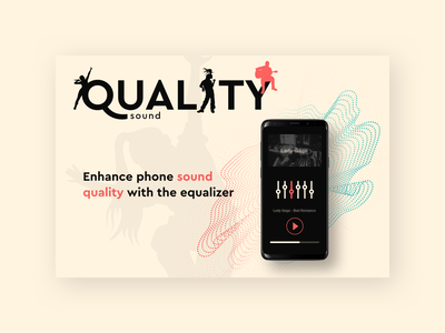 Quality Sound flat vector mobile illustration typography slider hero