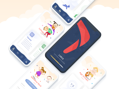 Activity App For Kids iphone x mobile app character mobile app game activity clean flat ui  ux design typography vector illustration childrens illustration children