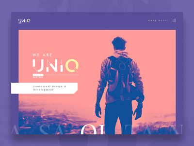 Uniq - Homepage web  design vector typography desktop gradient map flat ui  ux design workshop agency homepage