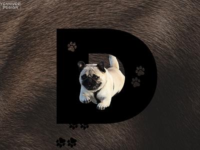 D for Dog typography animal design animal landing website design unsplash website design letter letters lettering photoshop gimp
