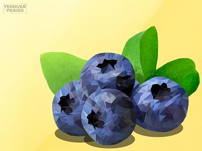 blueberries food fruit green berrie berry blue blueberries poly gon logo illustration design polygon lowpolyart low poly lowpolygon lowpoly inkscape