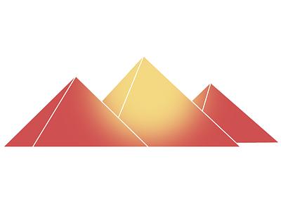 Pyramids procreate egypt yellow red burn icon logo nature desert sand sun pyramids