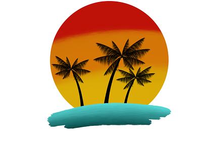 beach life sunrise sundown sun yellow orange red wasser water logodesign logo tree palm tree palmtree strand beach