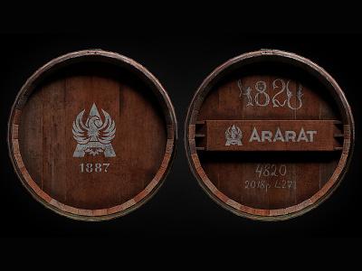 Brandy barrel ybc rivets staves brandy cask barrel 3d ararat