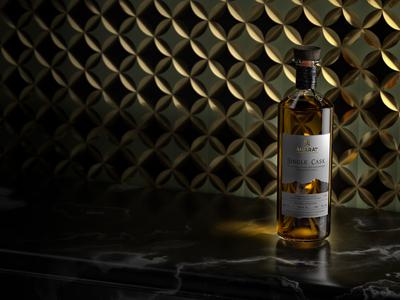 ARARAT Single Cask bottle design mood shot concept glass liquor packshot bottle spirits brandy ararat 3d