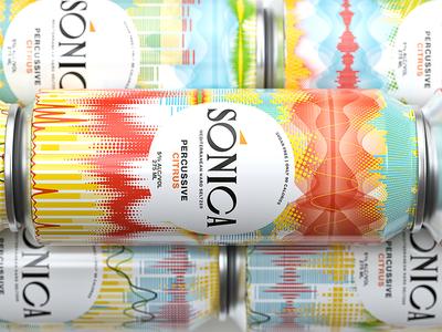 Sonica packaging seltzer 500ml can beverage packshot 3d