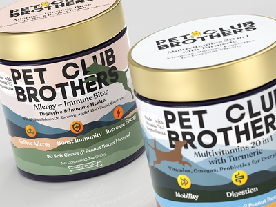 Pet Club Brothers identity branding visualization 3d dogs pets packaging