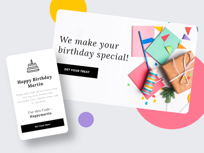 Feshto - Email for User Birthday web typography email template ux ui email website email design illustration design