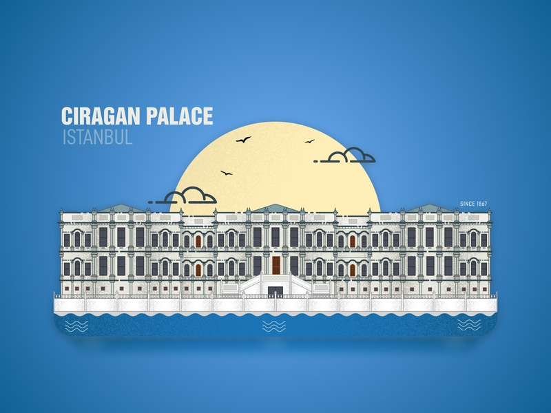 Ciragan Palace - Istanbul illustration building concept illustration design