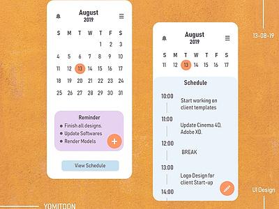 Calender App design todoapp calender adobe invision productdesign web ux mobile figma adobexd design ui app android app