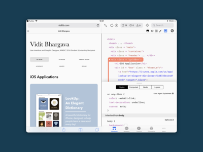 Safari Web Inspector for iPad