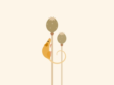 Dormouse wildlife art vector minimal poppy endangered dormouse mouse wildlife