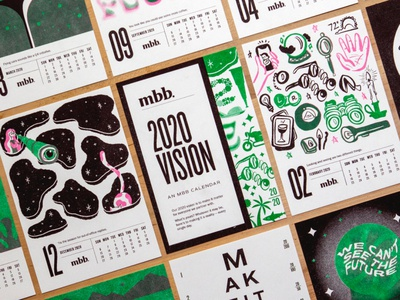 Riso Calendar overlay mirror ball cat telescope print illustration 2020 calendar riso