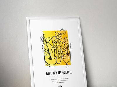 Mike Downes Quartet Poster jazz line drawing continuous line drawing gig design gig poster poster illustration