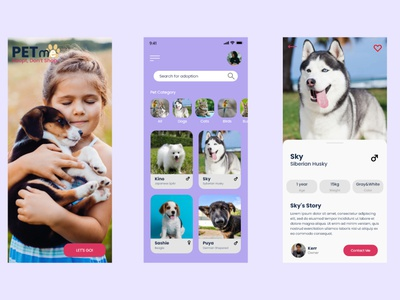 Pet adoption UI pet adoption flat minimal logo app ui design