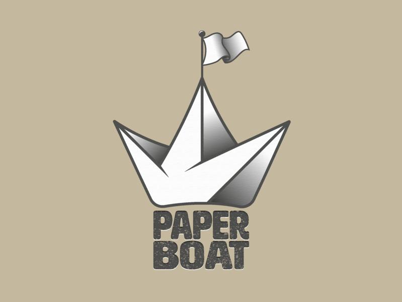Paperboat texture seal logo design cute character branding creative kids paper ship flag boat vector dribbble art logo illustration design