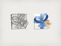 Gift Box Sketch and AI art