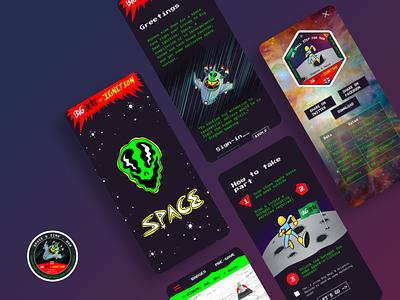 Big Beat Ignition: Space badges mobile landmrk design ui