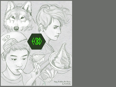 EXO - BD card for my friend exo hbd card illustration wolf lineart
