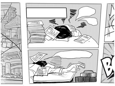 Short comic for website comic illustration bw lineart