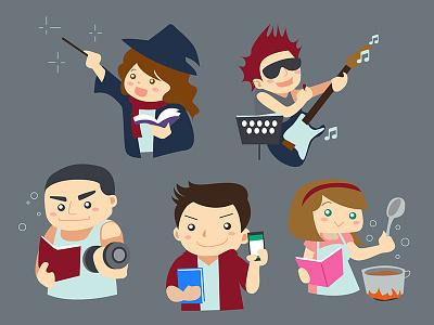 Readuo Illustration book activity friend character illustration vector