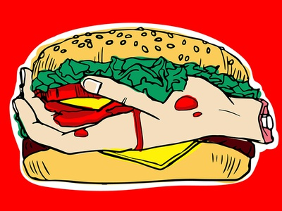 Zombies Delicious Fast Food vector design illustration