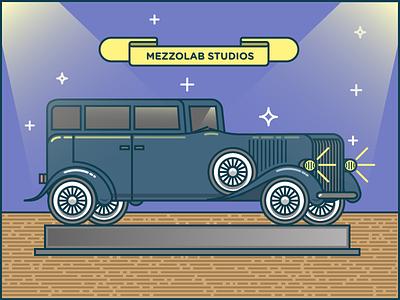 Classic Car mezzolab illustration strokes flat car vector 34