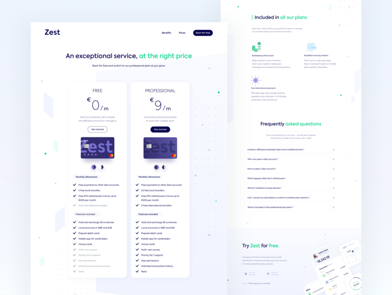 Zest • Full pricing page startup online bank price minimalist freelance icons pricing page pricing banking app banking finance money credit card bank fintech landing page clean branding uiux desktop