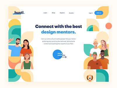 Hustl • Design community branding clean home page hero homepage landing page illustration friends dog desktop team collaboration colorful flatdesign flat character pattern mentor community