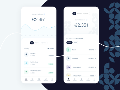 Shift app • balance and breakdown online bank finance minimalist icons banking app patterns expense tracker bank app analytics statistics payments expenses balance banking bank fintech money clean branding uiux