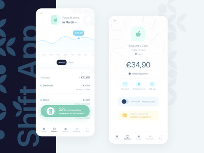 Shift • Spending stats and details balance statistics payments online bank invoice bill charts expenses analytics bank app bankapp credit card banking bank finance fintech uiux clean money branding