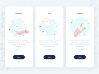 Shift • Onboardings part 1 onboarding screens banking app bank app expenses charts neobank bank statistics finance analytics online bank banking money categories fintech clean branding illustration onboarding