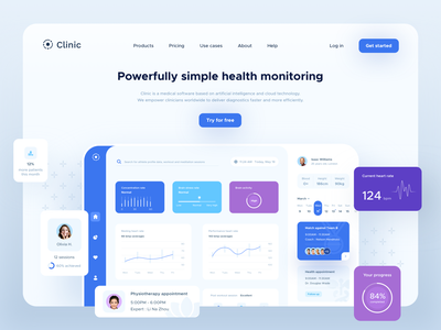 Freebie | Clinic UI elements healthcare booking appointment game sport fitness profile icons patient sketch minimal medical statistics analytics charts clean clinic health dashboard freebie