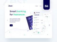 Zest • Behance case study case study bank payments icons freelance hero pricing page landing page desktop credit card clean startup bank app banking banking app finance fintech neobank branding behance