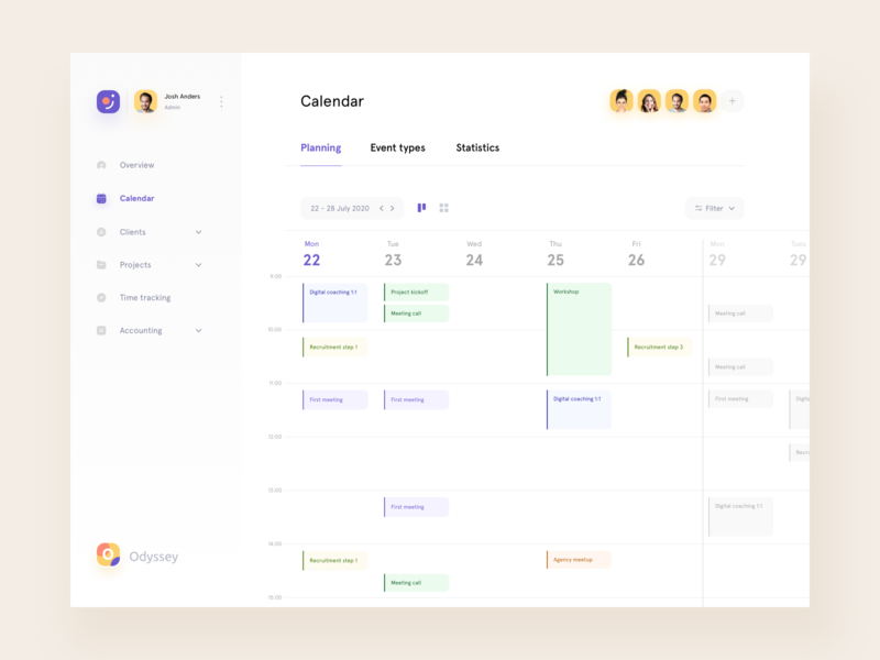 Odyssey • Planning tool calendar app agency call tasks product design schedule freelance meeting appointment event design system collaboration teamwork planning calendar clean branding