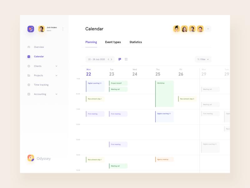 Odyssey • Planning tool calendar app agency call tasks product design schedule freelance meeting appointment event design system collaboration teamwork planning calendar clean branding