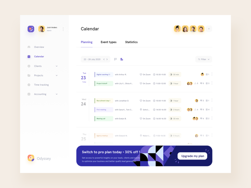 Odyssey • Planning List timeline video call design system freelance meeting schedule tasks product design collaboration teamwork call appointment agency calendar app events planning calendar desktop clean branding