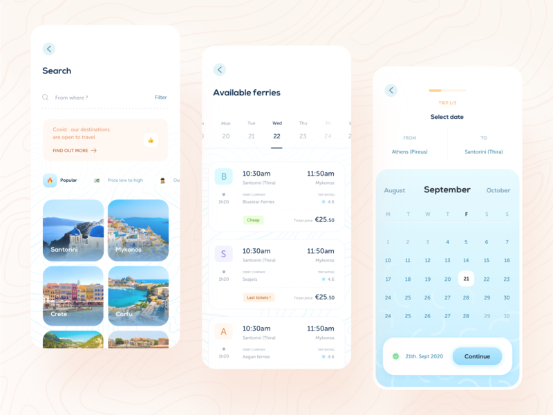 Hopstr • search screens clean mobile app travel branding travel app transport train calendar calendar app search filter cards booking icons tourism travelling rating ticket pricing trip